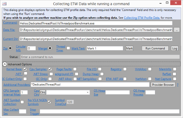 Profiling an app with custom ETW EventSource in PerfView.