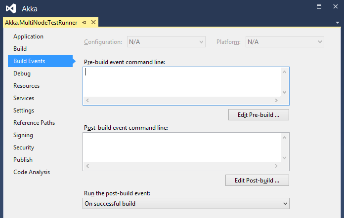 Blank pre-build event in project view in Visual Studio