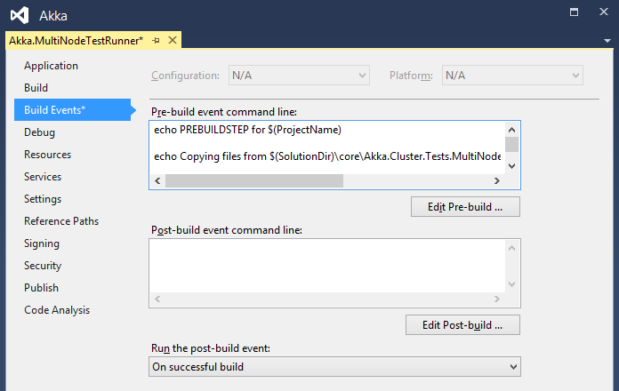 Populated pre-build event in project view in Visual Studio