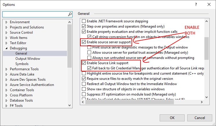 Visual Studio --> Options --> Debugging --> General and enable source server support, source link support, and fallback to Git credential manager