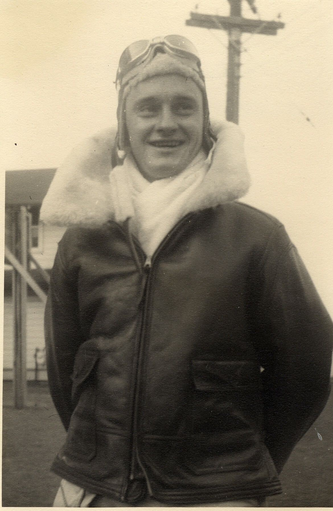 My grandfather, James Chester Roush, wearing his bombardier jacket prior to a training mission aboard the B-26 bomber he flew with the U.S. Army Air Corps